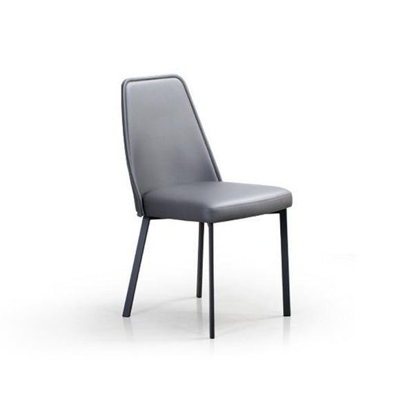 Grey modern leather dining chair with metal legs