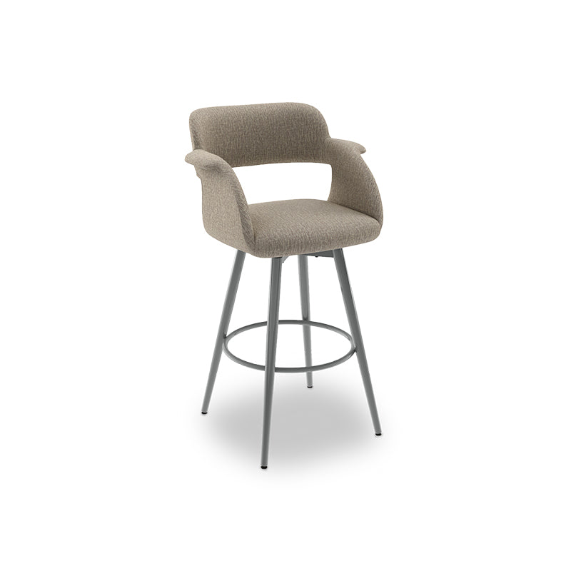 Blue modern upholstered swivel counter stool with metal base