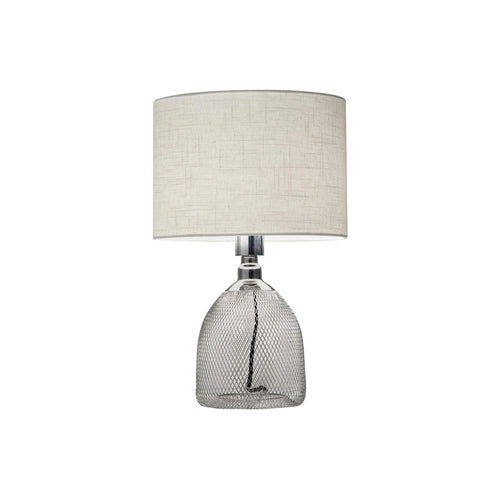 Modern chrome table lamp with white shade