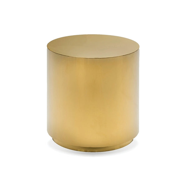 Polished stainless steel round modern end table