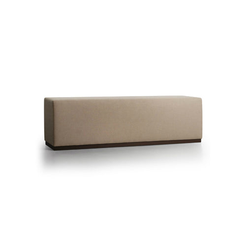 beige modern upholstered bench with metal base