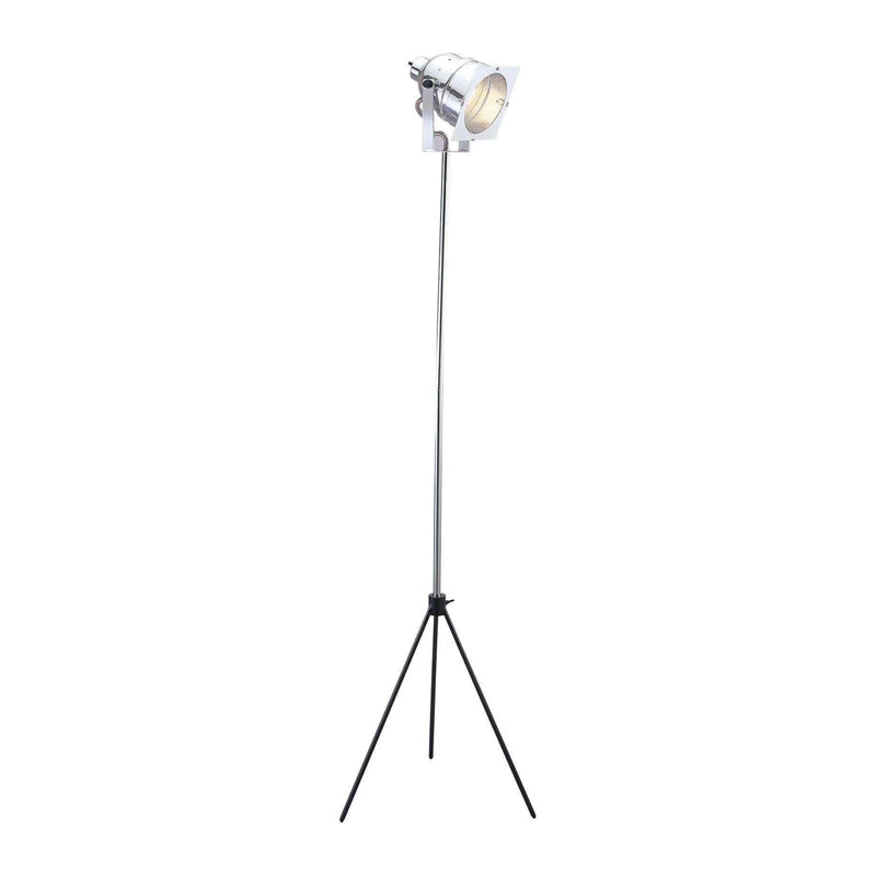Chrome modern tripod floor lamp with adjustable base and light