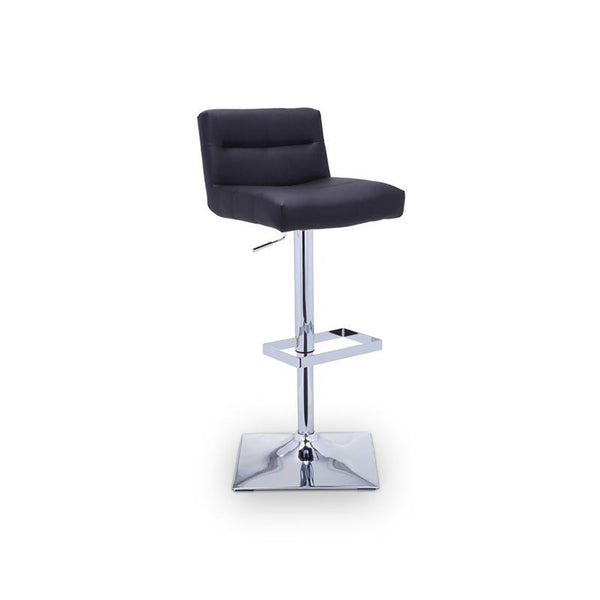 modern onyx black faux leather adjustable swivel stool with polished stainless steel base