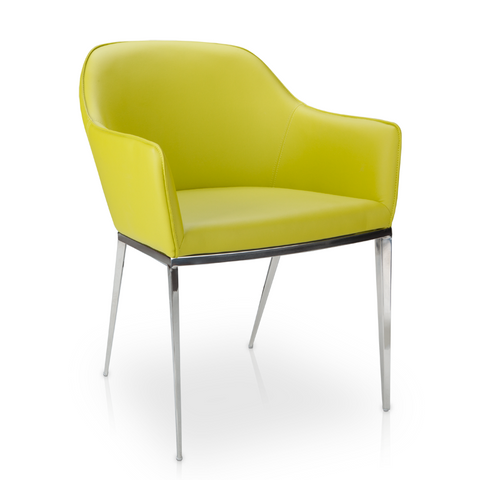 Lime Green Modern Faux Leather Dining Chair with Steel Legs