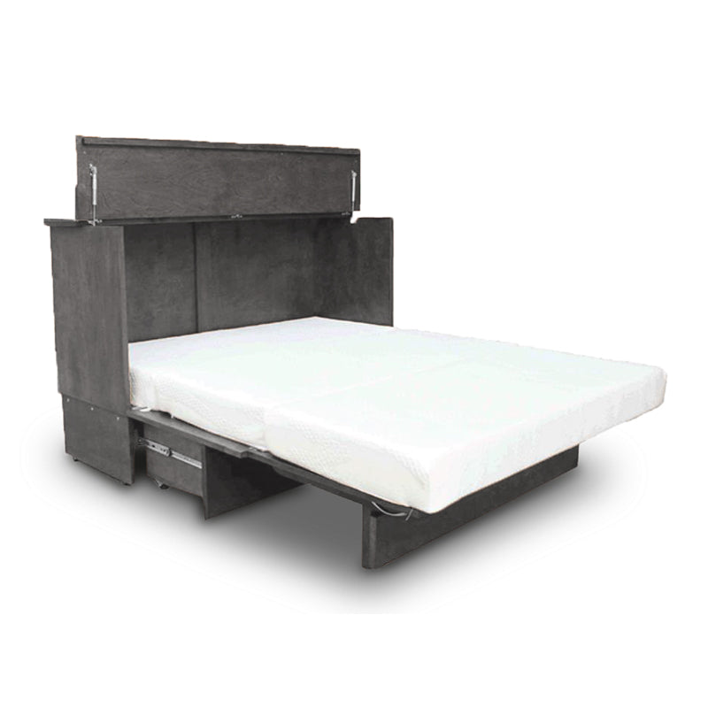 Grey wood modern cabinet bed, cabinet opened