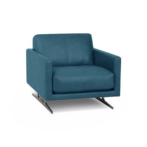 modern turquoise blue fabric arm chair with Blade Legs