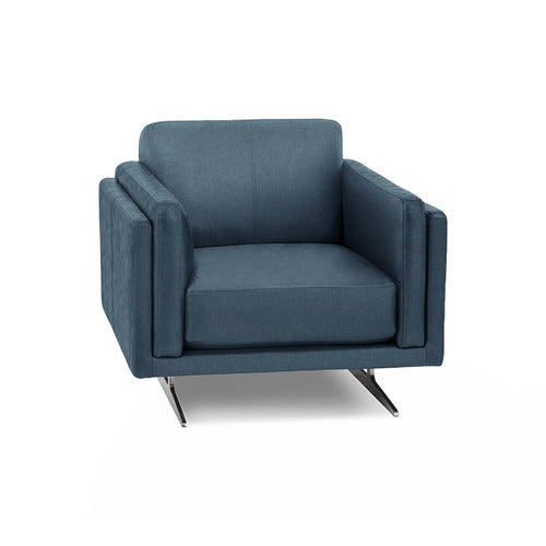modern cerulean blue fabric arm chair with Blade Legs