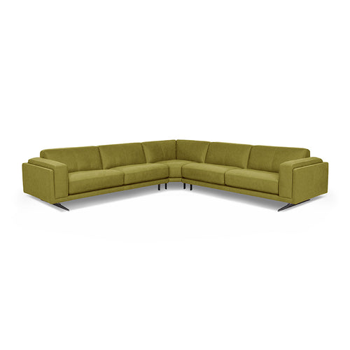 modern lime kiwi green fabric sectional with Blade Legs