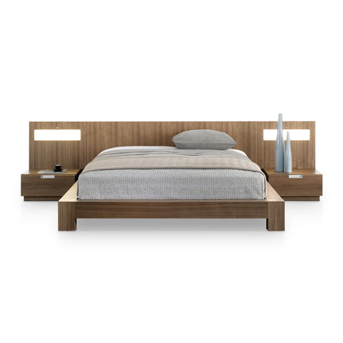 walnut modern platform bed with light panels and night stands