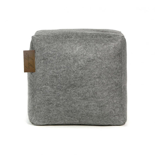 Grey modern fabric bean bag cube ottoman or chair