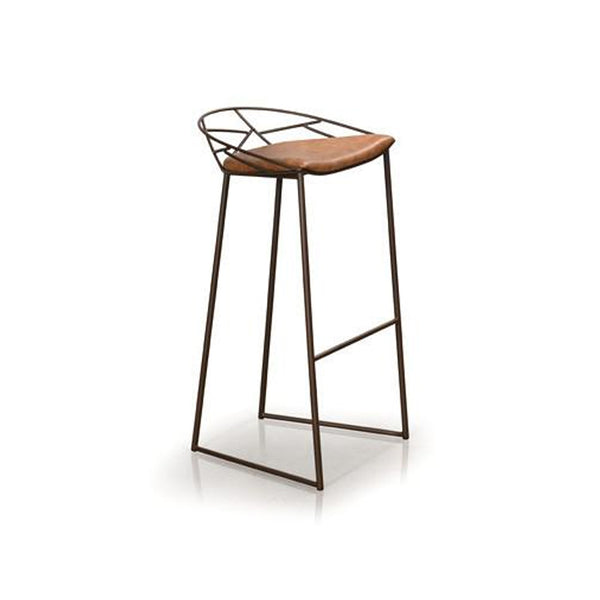 brown modern leather counter stool with metal frame