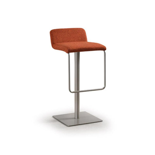 orange modern upholstered adjustable counter stool with metal frame