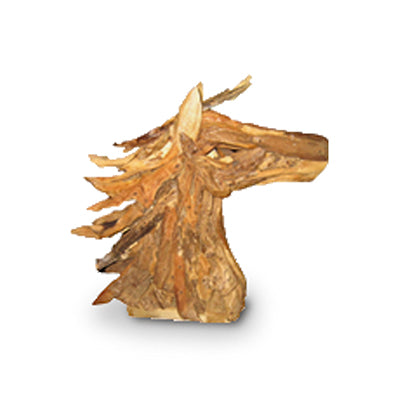 Modern teak root horse head sculpture