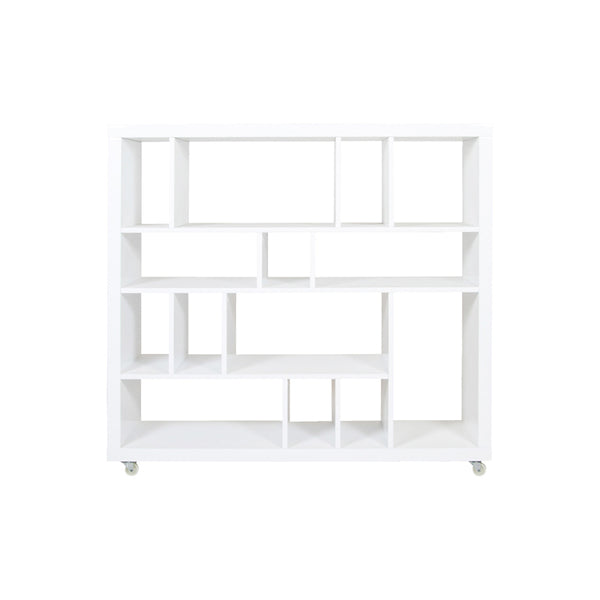 High gloss white modern bookcase with wheels