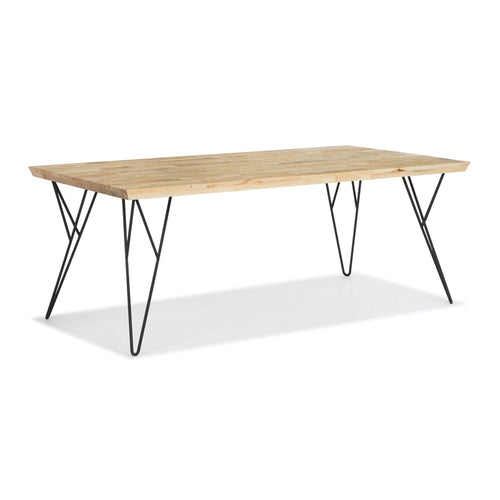 Blonde modern reclaimed wood dining table with angled black metal legs