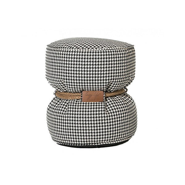 denim bean bag ottoman with rope tie