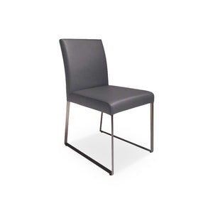 White modern leatherette dining chair with stainless steel base