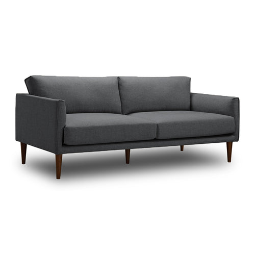 Modern Mid Century Slate Grey Fabric Sofa with Black Leg