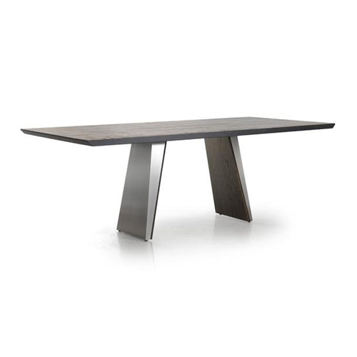 Modern Custom Order Dining Table with Metal and Wood Trestle Base and Wood Top by Trica