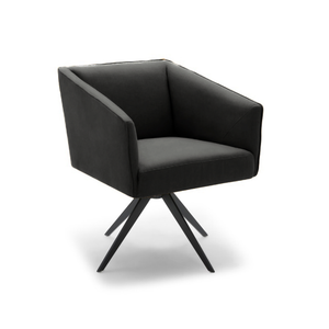 modern black leather boxy arm chair with black star base