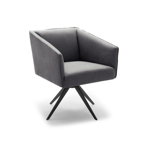 modern grey leather boxy arm chair with black star base