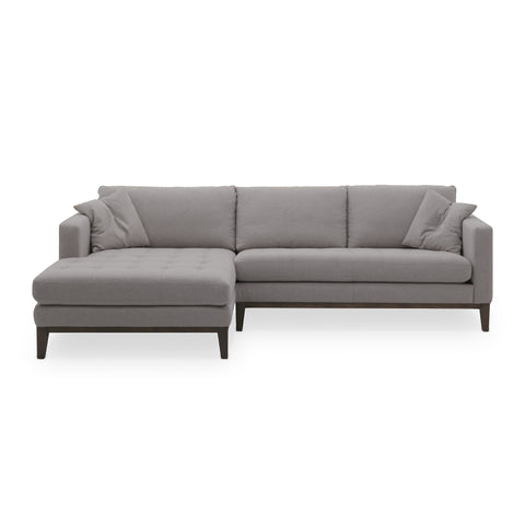 Grey modern fabric sectional, left hand facing