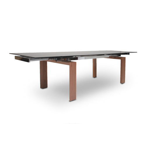 Smoked Glass Modern Extendable Dining Table with Walnut Veneer Legs