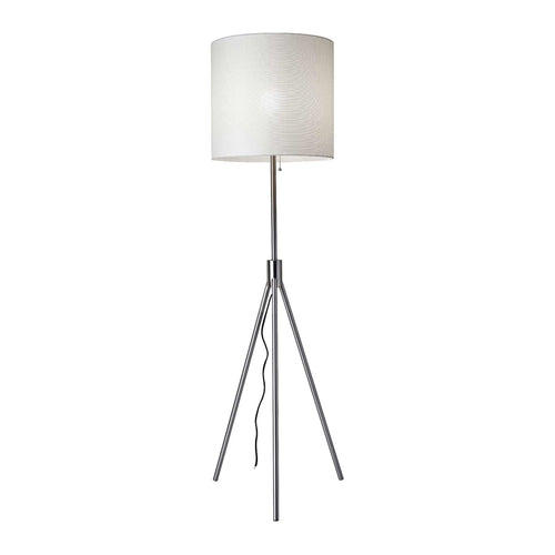 White modern floor lamp with steel tripod base