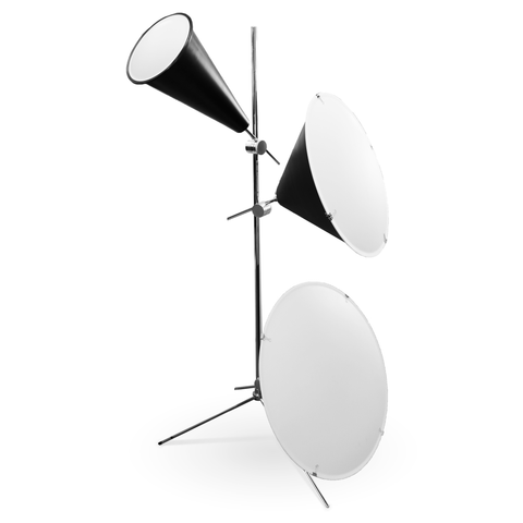 Black modern floor lamp with three trumpet lamps