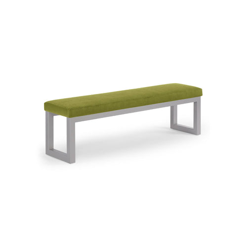 Green modern upholstered bench with metal frame
