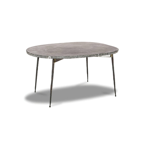 Black modern marble coffee table with unfinished iron legs