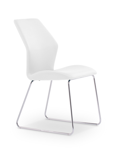 White modern leatherette dining chair with chrome base