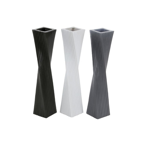 Black, white, and grey tall twisted modern ceramic vases