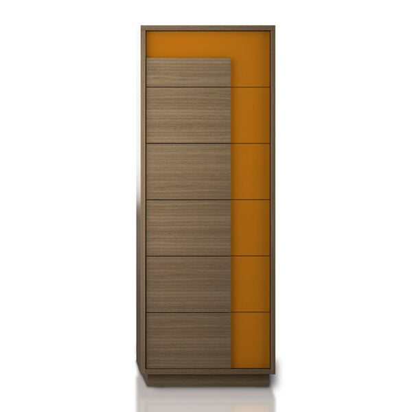 Modern wood and orange glass narrow chest of drawers