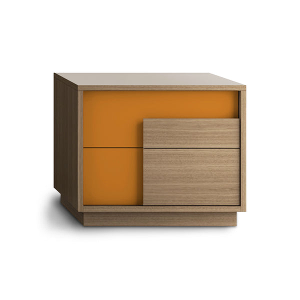 Walnut and orange modern wood and glass night stand