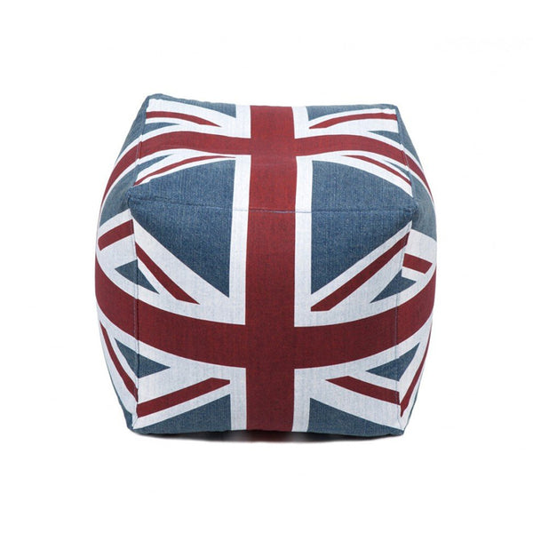Union jack modern denim bean bag cube ottoman or chair