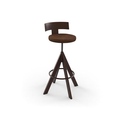 Modern adjustable screw stool with upholstered seat and metal base