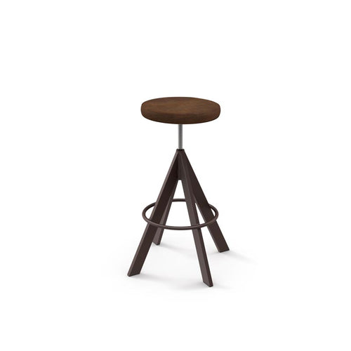 Modern adjustable backless screw stool with upholstered seat and metal base