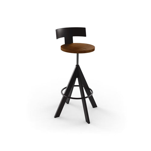 Modern adjustable screw stool with wooden seat and metal base