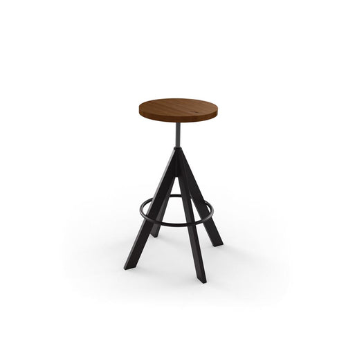 Modern adjustable backless screw stool with wooden seat and metal base