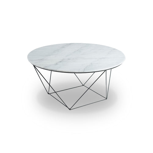 White modern marble coffee table with matte black metal base