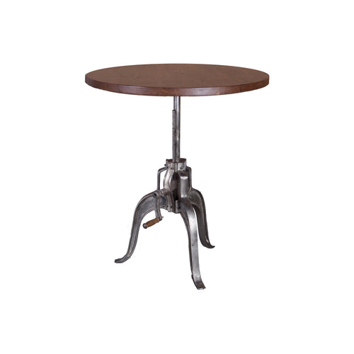 Modern acacia wood end table with metal base and crank adjustable height