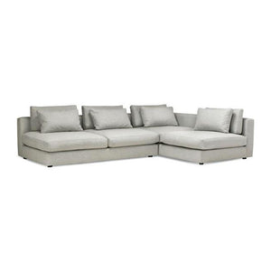 Light grey modern fabric sectional, right hand facing