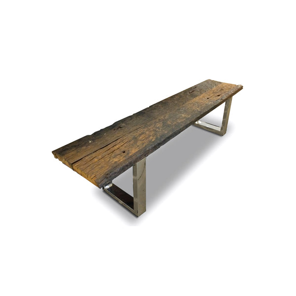 Modern solid teak bench with chrome legs