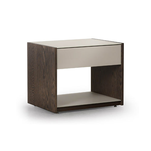 Mushroom glass and mist wood modern night stand with metal base