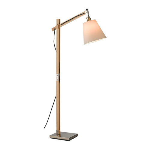 Modern wood adjustable floor lamp with steel base and accents