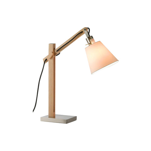 Modern wood adjustable table lamp with steel base and accents