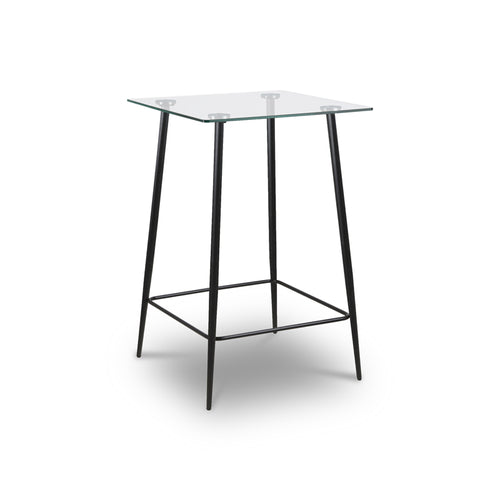 Modern Square Glass Counter Height Table with slim Black Metal Legs