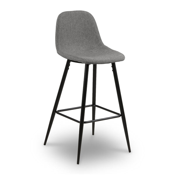 Modern Grey Fabric Shell Seat Counter Stool with Black Angled Leg