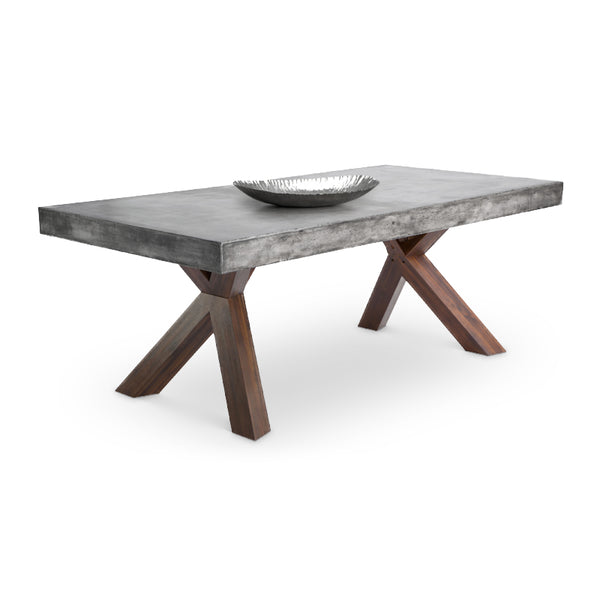 Modern Concrete Dining Table with Espresso Acacia Wood Base